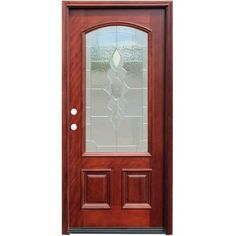 Pacific Entries Traditional 3/4 Arch Lite Stained Mahogany Wood Entry Door with 6 in. Wall Series-M63STMR6 at The Home Depot