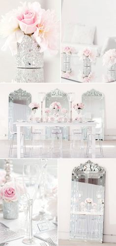 Mirrors & Pink Peonies & Pink Roses. Breathtaking event or wedding decor! #weddings