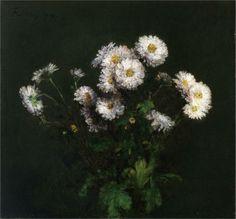 Henri Fantin-Latour - Bouquet of White Chrysanthemums - 1869