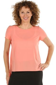 Peach Short Sleeve Dipped Back Hem Top | Charlotte Gold