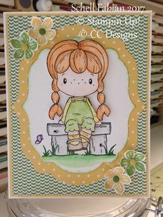 So Saffron, Wild Wasabi DSP (retired), Petite Petals stamp and punch, candy dots (retired), Labels Collection Framelits (retired), CC Designs Cute Birgitta, Spring Bench