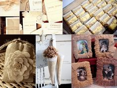 like burlap (bag) with cream felt rose centered with a button for embellishment. burlap also makes a great fabric cone to put flowers in at aisle ends and can be stamped with design or lined with lace doily to feminize.
