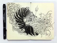 MOLESKINE DOODLES: Nautilus by kerbyrosanes.deviantart.com on @deviantART