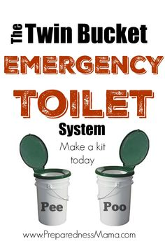 I use this at Burning man - genius! Do you have sanitation plans if your water is disrupted? The Twin Bucket Emergency Toilet System has been proven to work Survival Life, Homestead Survival, Survival Prepping, Survival Gear, Survival Skills, Wilderness Survival, Survival Hacks, Zombies Survival, Survival Gadgets