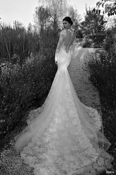 berta bridal 2015 illusion bodice long sleeve sexy wedding dress lace train back view