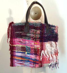 SAORI handwoven tote bag