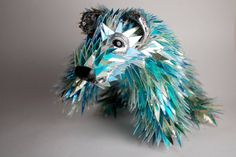 Polar bear, made from shards of old CDs
