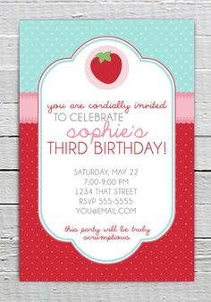 Coupon Code - REPIN10 for 10% off Strawberry Birthday Invitation Custom Printable Girls birthday party supplies invite by LuxePartySupply $10.99