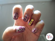 For the sixth day, I went with a combination of stamping and studs. I had to bring my UV oven out of storage for this, as a Gel Top Coa. Violet Nails, 31 Day Challenge, Beauty, Purple Nail, Purple Nails