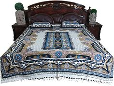 Indian Bedding Authentic Handloom Cotton Bedspread Galicha Print Bedcover with Pillocases Mogul Interior http://www.amazon.com/dp/B00R97B0U6/ref=cm_sw_r_pi_dp_hluLub0MXRAW4