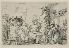 Jesus Disputing with the Doctors the Smaller Print - Rembrandt - Completion Date: 1654