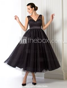 TS Couture® Formal Evening / Company Party Dress - 1950s Plus Size / Petite A-line / Princess V-neck Tea-length Tulle with Sash / Ribbon 2017 - $69.99