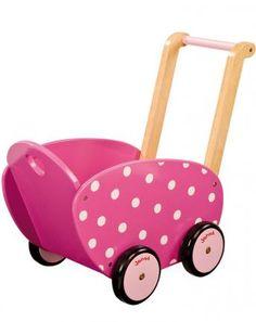 Holz Puppenwagen Himbeere in pink