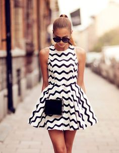 #woman #summer #fashion #dress #black #white