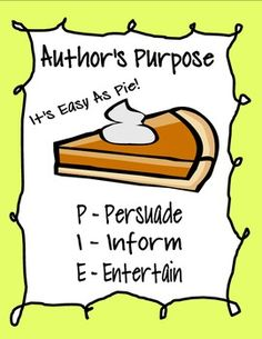 Sorting Activity teaching students Author's Purpose! (PIE!) Hands on, engaging and fun!