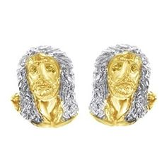 10K Two Tone Gold Over Classic Jesus Face Men's Stud Earrings by JewelryHub on Opensky