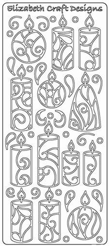 Ääriviivatarra, Pöytäkynttilät, valkoinen ja hopea