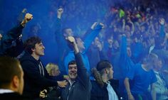 The massive away support of the Everton fans enjoy Lukaku's second goal in a 3-2 win over West Brom.