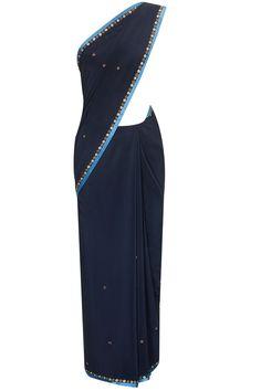 JJ VALAYA Navy georgette sari with zardozi work blouse