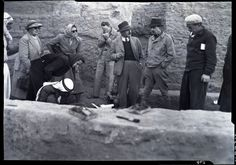 Agatha Christie at the dig at Nippur. Left to Right: Agatha Christie Mallowan, Miss Parker, Irene Haines, Halaf,  Carl Haines, Max Mallowan, Don McCown, Mohammed Ali Penn Museum Image #49024.