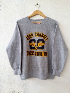 """John Carroll Sweatshirt Vintage 90s Cross Country Jumper Pullover Size L