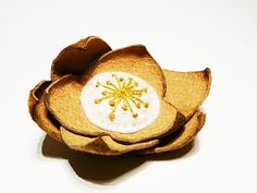 Leather and felt embroidery brooch Mustard by myRainbowWorld, $17.00