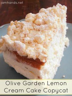 Olive Garden Lemon Cream Cake Copycat Recipe. #copycat #cake #dessert