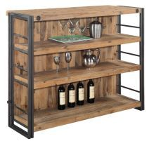 Constructed using solid Acacia wood and metal, the Brooklyn Bar perfectly balances function and style. The industrial chic design makes it a perfect complement for either a modern or traditional décor Contemporary Bookcase, Back Bar, Moe's Home Collection, Wine Storage, Storage Ideas, Dot And Bo, Bar Set, Traditional Decor, Bar Furniture