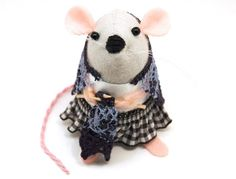 Knitting Mouse Ornament Artisan felt rat by TheHouseOfMouse