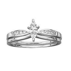 Marquise and Round Diamond Wedding Ring Band Set, Diamond Ring