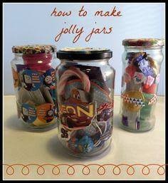 how to make jolly jars. Cute idea for school fundraiser/school fair booth/children's birthday favor. Christmas Fair Ideas, Christmas Makes, Christmas Crafts, Summer Christmas, Fundraising Crafts, School Fair, School Auction, Solar System Crafts, Fete Ideas
