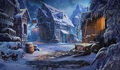 Old Barn in Winter Village by Sergey Lameyko