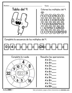 Learning Multiplication, 4th Grade Math Worksheets, 1st Grade Math, Math Resources, Math Activities, Teaching Numbers, Numbers Preschool, Math Lab, Math School