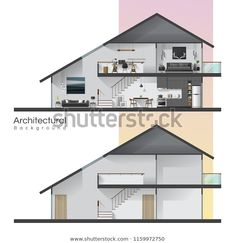 House Cross Section Furniture Empty House Stock Vector (Royalty Free) 1159972750 House Vector, Kitchen Background, Living Room Background, Architectural Section, Architectural Elements, Free Vector Images, Vector Free, Living Room Vector