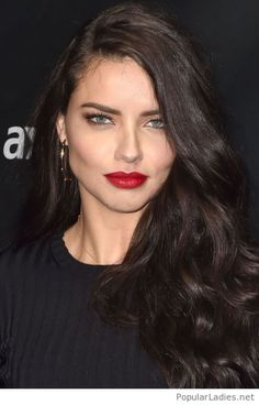 f950becc9db Brown hair color and red lips. Adriana Lima ...