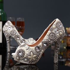 135.99$  Buy here - http://alicy7.worldwells.pw/go.php?t=32320387397 - Plus Size 35-43 Sexy Crystal Peep Toe Wedding Shoes Rhinestone Woman Pumps Open Toe High Heels