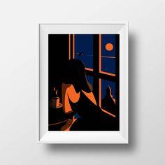 Affiche Illustration Paris - Poster Montmartre Fille Café Retro Sacré Coeur Vector Art Sérigraphie Pop Art Décoration Murale Chat Tirage