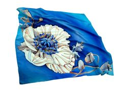 Hand painted silk scarf White poppies Blue and