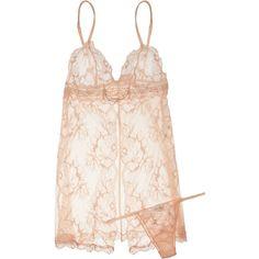 2b17ba627 La Perla Baronessa lace chemise and thong set ( 475) ❤ liked on Polyvore  Camisola
