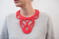 knitted plastron necklace with silvery clasp this item is entirely handmade composition : cotton color : red ……………………………………………………………………………………………………… Textiles, 2017 Design, Jewelry Design, Designer Jewelry, Statement Jewelry, Diy Fashion, Etsy Store, Crochet Necklace, Artsy