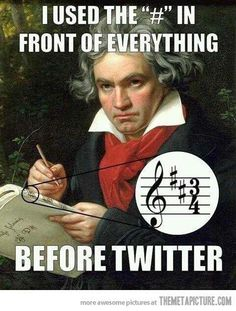 Beethoven used the sharp sign before Twitter