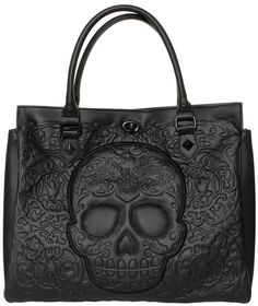 LOUNGEFLY BLACK ON BLACK LATTICE SKULL TOTE Loungefly brings you one big, bad tote bag! This black on black faux leather, oversized purse features an intricate skull & lattice pattern, black turn lock closure along with zip top & sturdy handles. $68.00