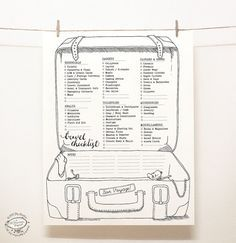 DOODLE Travel Checklist / Packing Planner / by SkyGoodies on Etsy  They have quite a few really cute printables for planning.