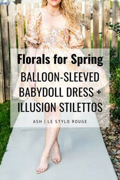 Shimmery Floral Balloon-sleeved Babydoll Dress. | LSR