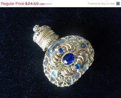 On Sale Vintage Perfume Bottle Blue Stones Mad by MartiniMermaid, $22.05
