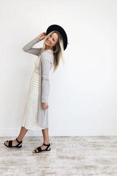 Ivory Grid Linen Jumper Dress   ROOLEE