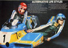 Lady Life Helmets. Sidecar. Girl. Model. Blue. Yellow. Ad.