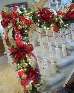 Opulent red and gold Christmas staircase garland (with some how-to tips) Christmas Stairs, Diy Christmas Garland, Noel Christmas, Christmas Projects, Winter Christmas, Christmas Mantels, Christmas Phrases, Christmas Garden, Victorian Christmas