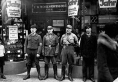 Nazis singing to encourage people to follow their boycott of Jewish shops (1933). Dad's family had left Germany by then.