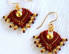 macrame earrings- short earrings- chevron earrings- maroon gold earrings- tribal earrings